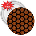 HEXAGON2 BLACK MARBLE & RUSTED METAL 3  Buttons (100 pack)  Front