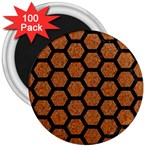 HEXAGON2 BLACK MARBLE & RUSTED METAL 3  Magnets (100 pack) Front