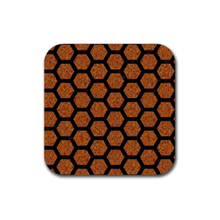 HEXAGON2 BLACK MARBLE & RUSTED METAL Rubber Square Coaster (4 pack)