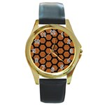 HEXAGON2 BLACK MARBLE & RUSTED METAL Round Gold Metal Watch Front