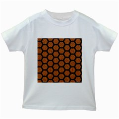 Hexagon2 Black Marble & Rusted Metal Kids White T Shirts by trendistuff