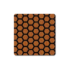HEXAGON2 BLACK MARBLE & RUSTED METAL Square Magnet