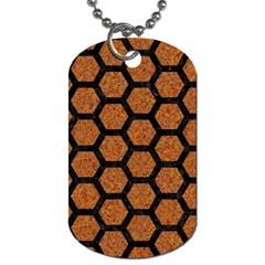 Hexagon2 Black Marble & Rusted Metal Dog Tag (two Sides) by trendistuff