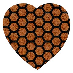Hexagon2 Black Marble & Rusted Metal Jigsaw Puzzle (heart) by trendistuff