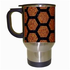 HEXAGON2 BLACK MARBLE & RUSTED METAL Travel Mugs (White)