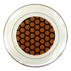 HEXAGON2 BLACK MARBLE & RUSTED METAL Porcelain Plates