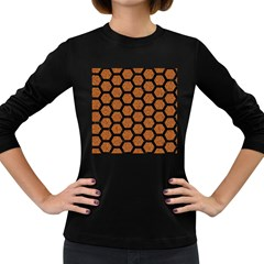 Hexagon2 Black Marble & Rusted Metal Women s Long Sleeve Dark T Shirts by trendistuff