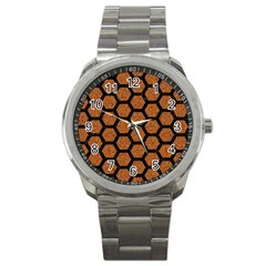 Hexagon2 Black Marble & Rusted Metal Sport Metal Watch