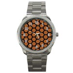 HEXAGON2 BLACK MARBLE & RUSTED METAL Sport Metal Watch Front