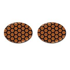 HEXAGON2 BLACK MARBLE & RUSTED METAL Cufflinks (Oval)
