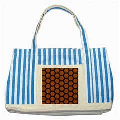 Hexagon2 Black Marble & Rusted Metal Striped Blue Tote Bag by trendistuff