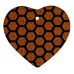 HEXAGON2 BLACK MARBLE & RUSTED METAL Heart Ornament (Two Sides)