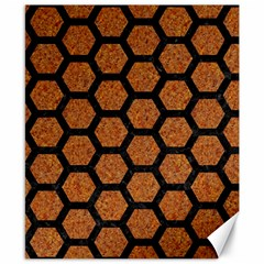 Hexagon2 Black Marble & Rusted Metal Canvas 8  X 10