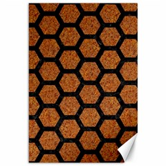 HEXAGON2 BLACK MARBLE & RUSTED METAL Canvas 12  x 18