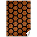 HEXAGON2 BLACK MARBLE & RUSTED METAL Canvas 24  x 36  36 x24 Canvas - 1