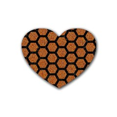 Hexagon2 Black Marble & Rusted Metal Heart Coaster (4 Pack)