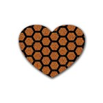HEXAGON2 BLACK MARBLE & RUSTED METAL Heart Coaster (4 pack)  Front