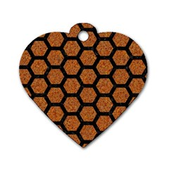 Hexagon2 Black Marble & Rusted Metal Dog Tag Heart (two Sides) by trendistuff