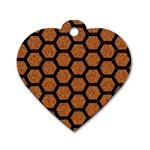 HEXAGON2 BLACK MARBLE & RUSTED METAL Dog Tag Heart (Two Sides) Front