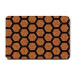 HEXAGON2 BLACK MARBLE & RUSTED METAL Small Doormat  24 x16 Door Mat - 1