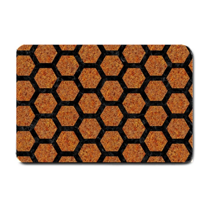 HEXAGON2 BLACK MARBLE & RUSTED METAL Small Doormat