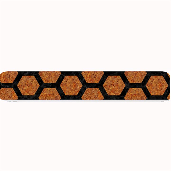HEXAGON2 BLACK MARBLE & RUSTED METAL Small Bar Mats