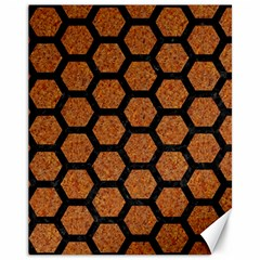 HEXAGON2 BLACK MARBLE & RUSTED METAL Canvas 11  x 14