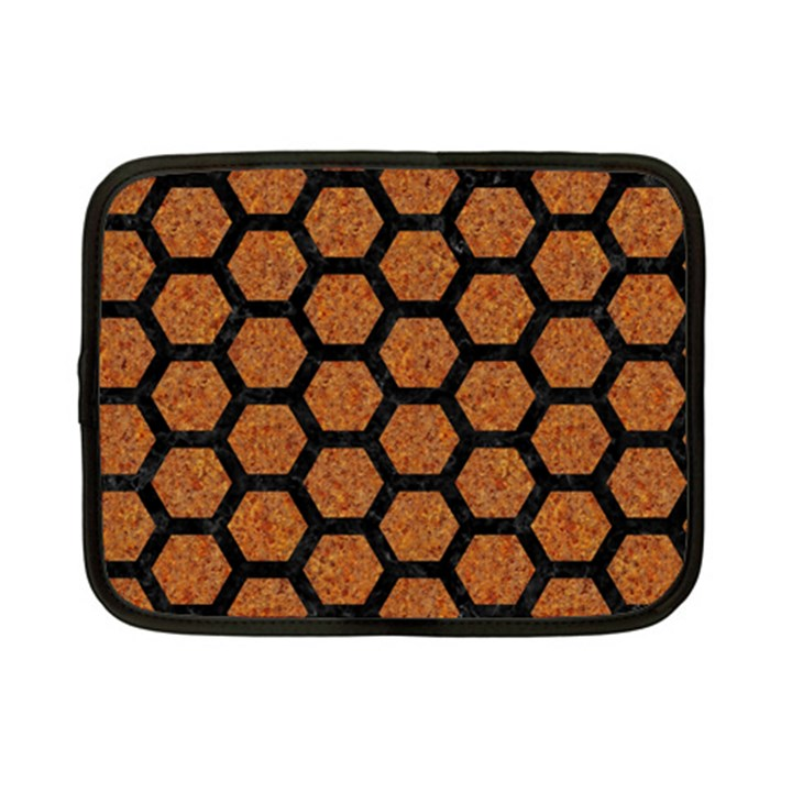 HEXAGON2 BLACK MARBLE & RUSTED METAL Netbook Case (Small)