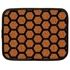 Hexagon2 Black Marble & Rusted Metal Netbook Case (large)