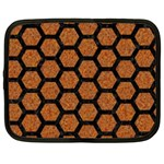 HEXAGON2 BLACK MARBLE & RUSTED METAL Netbook Case (Large) Front