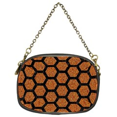 HEXAGON2 BLACK MARBLE & RUSTED METAL Chain Purses (One Side)