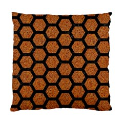 Hexagon2 Black Marble & Rusted Metal Standard Cushion Case (two Sides) by trendistuff