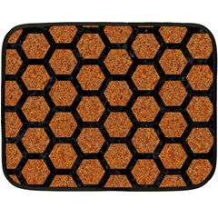 Hexagon2 Black Marble & Rusted Metal Double Sided Fleece Blanket (mini)  by trendistuff