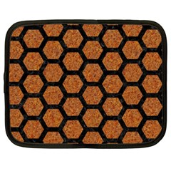 Hexagon2 Black Marble & Rusted Metal Netbook Case (xxl)