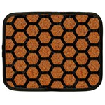 HEXAGON2 BLACK MARBLE & RUSTED METAL Netbook Case (XXL)  Front