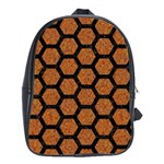 HEXAGON2 BLACK MARBLE & RUSTED METAL School Bag (Large) Front