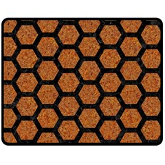 Hexagon2 Black Marble & Rusted Metal Fleece Blanket (medium)  by trendistuff