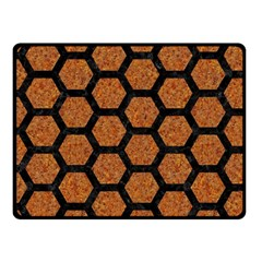 Hexagon2 Black Marble & Rusted Metal Fleece Blanket (small) by trendistuff