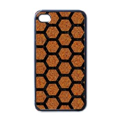 Hexagon2 Black Marble & Rusted Metal Apple Iphone 4 Case (black) by trendistuff