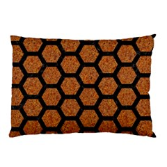 Hexagon2 Black Marble & Rusted Metal Pillow Case (two Sides)