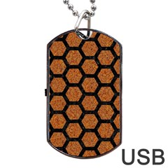 Hexagon2 Black Marble & Rusted Metal Dog Tag Usb Flash (one Side) by trendistuff