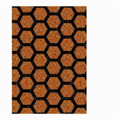 Hexagon2 Black Marble & Rusted Metal Small Garden Flag (two Sides) by trendistuff