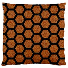 Hexagon2 Black Marble & Rusted Metal Large Cushion Case (one Side) by trendistuff