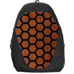 Hexagon2 Black Marble & Rusted Metal Backpack Bag by trendistuff