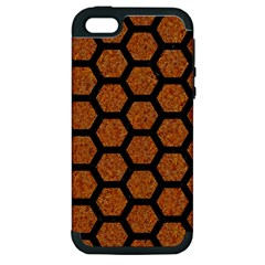 HEXAGON2 BLACK MARBLE & RUSTED METAL Apple iPhone 5 Hardshell Case (PC+Silicone)