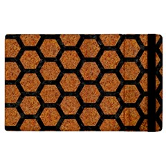 Hexagon2 Black Marble & Rusted Metal Apple Ipad 2 Flip Case