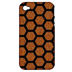 Hexagon2 Black Marble & Rusted Metal Apple Iphone 4/4s Hardshell Case (pc+silicone) by trendistuff