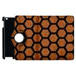 HEXAGON2 BLACK MARBLE & RUSTED METAL Apple iPad 3/4 Flip 360 Case Front