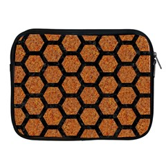 HEXAGON2 BLACK MARBLE & RUSTED METAL Apple iPad 2/3/4 Zipper Cases