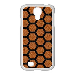 Hexagon2 Black Marble & Rusted Metal Samsung Galaxy S4 I9500/ I9505 Case (white) by trendistuff